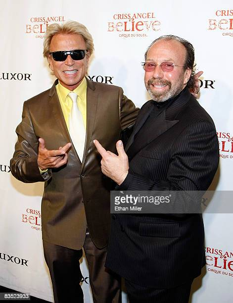 Illusionist Siegfried Fischbacher and entertainment manager Bernie Yuman arrive at the gala premiere of Criss Angel Believe by Cirque du Soleil at...