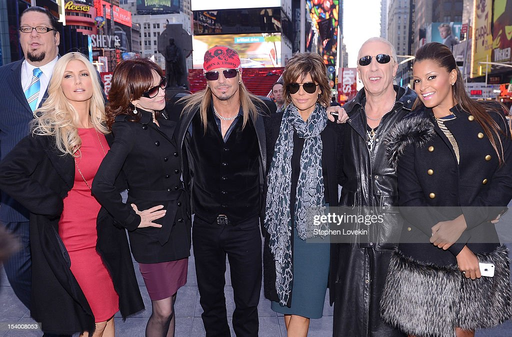 Illusionist/magician Penn Jillette, former Playboy Playmate Brande Roderick, actress Marilu Henner, singer/TV personality Brett Michaels, actress Lisa Rinna, singer Dee Snider, and TV/radio personality Claudia Jordan attend the 'Celebrity Apprentice All Stars' Season 13 Bus Tour at on October 12, 2012 in New York City.
