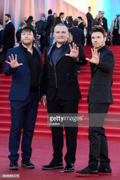 Illusionists Safronova's brothers Ilya Sergey and Andrey attend opening of the 39th Moscow International Film Festival outside the Karo 11 Oktyabr...