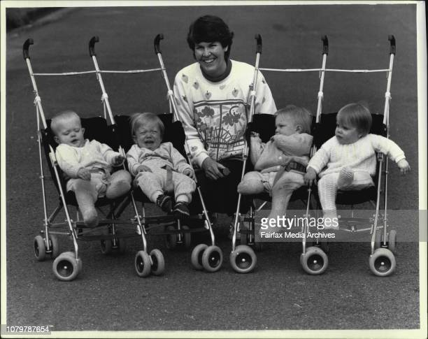 Mrs Judy McGlynn of Neutral with her 14 months old quads Adrianna Edward Claudia IsabelThe McGlynn quads of Neutral Bay Adrianne Claudia Edward...