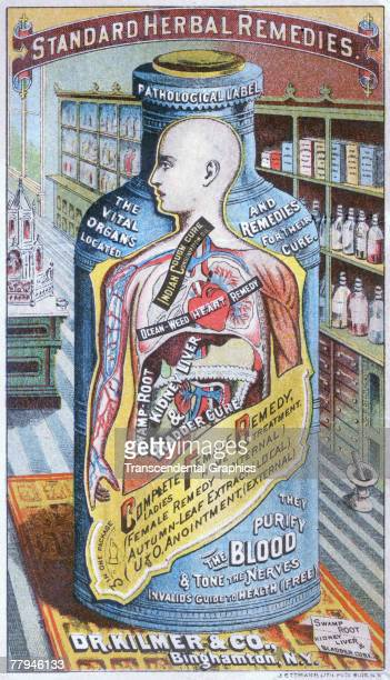 Illustrated advertisement for patent medicine called 'Complete Female Remedy' made by the Binghamton New Yorkbased Dr Kilmer Co features a bottle...