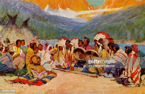 Illustrated advertisement for the Glacier National Park in Montana featuring a large group of Native American Indians sitting alongside the stream...
