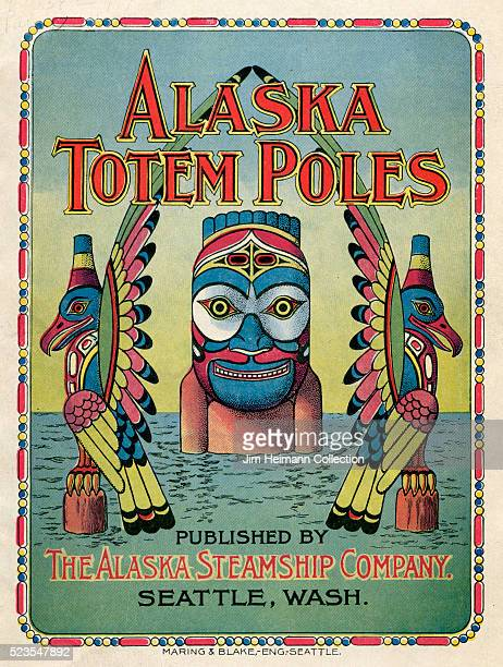 Illustrated brochure for the Alaska Steamship Company featuring two totem poles and a man standing in water wearing a totem pole mask