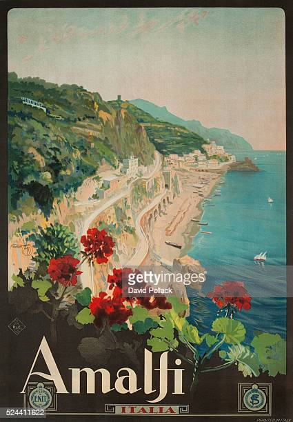 Illustrated by Mario Borgoni Ente Nazionale Italiano per il Turismo travel poster showing the Amalfi coast