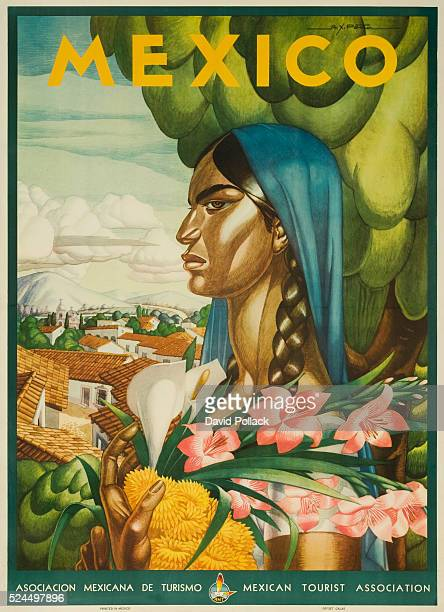 Illustrated by Pena native woman in traditional garb carrying a bunch of flowers Mexican Tourist Association ca 1945