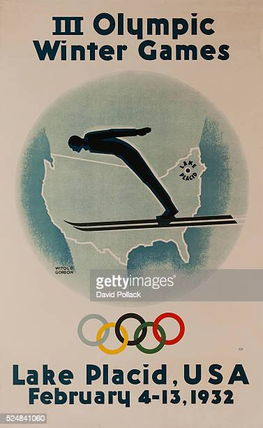 Illustrated by Witold Gordon, 1932 Lake Placid Winter Olympics Poster, silhouette of a Ski Jumper over a map of the United States with Lake Placid...