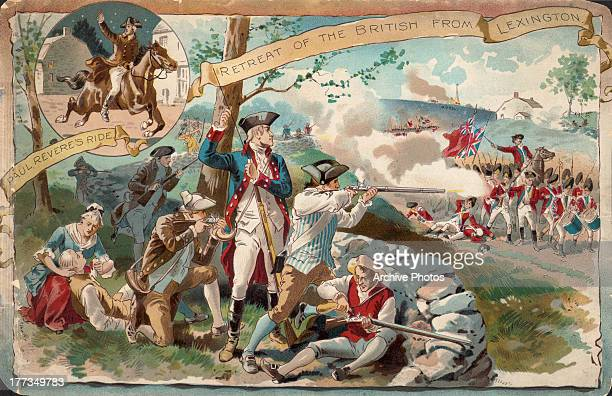Illustrated color postcard depicting the Battle of Lexington in the American Revolutionary War the British retreat Massachusetts April 19th 1775