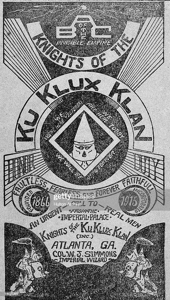 Illustrated cover of a brochure promoting a chapter of the Knights of The Ku Klux Klan, Atlanta, Georgia, circa 1916.