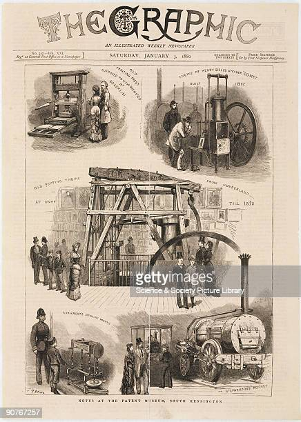 Illustrated cover of an edition of the weekly newspaper 'The Graphic' published on Saturday 3 January 1880 showing visitors admiring exhibits such as...