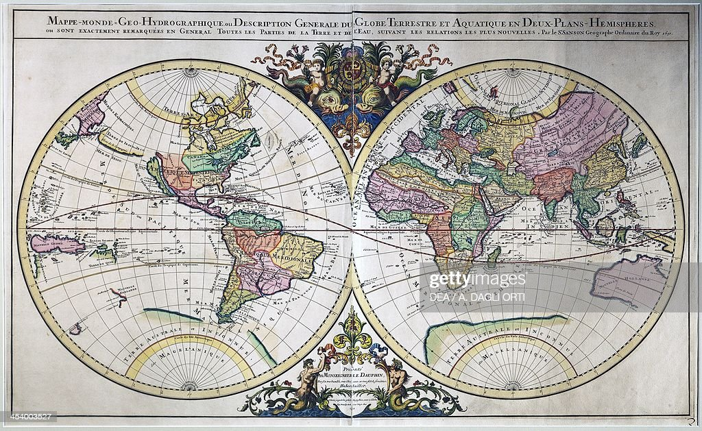 Illustrated double hemisphere world map pictures getty images illustrated double hemisphere world map 1692 engraving from the atlas nouveau by publicscrutiny Image collections