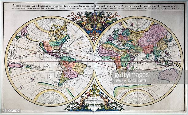 Illustrated doublehemisphere world map engraving from the Atlas Nouveau by AlexisHubert Jaillot from maps by Nicolas Sanson France 17th century