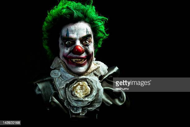 illustrated image of an evil vampire clown - clown's nose stock photos and pictures