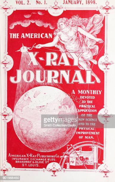 Illustrated journal cover depicting a robed floating woman using an instrument to xray the planet Earth from Vol 2 No 1 of the 'American XRay Journal...