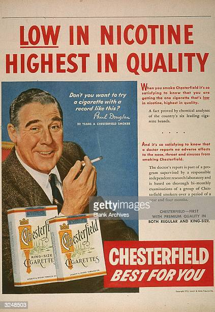 Illustrated magazine advertisement featuring actor Paul Douglas for Chesterfield cigarettes