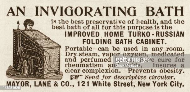 Illustrated magazine advertisement promises 'An Invigorating Bath' as a 'preservative of health' as it tries to sell a 'TurkoRussian folding bath...