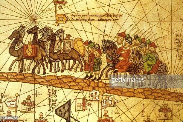 Illustrated map depicting the journey of the Venetian merchant Marco Polo along the silk road to China