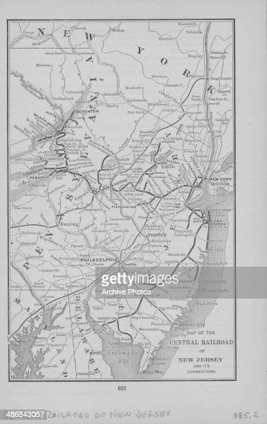 Illustrated map depicting the route of the Central Railroad of New Jersey and its connections circa 18391900
