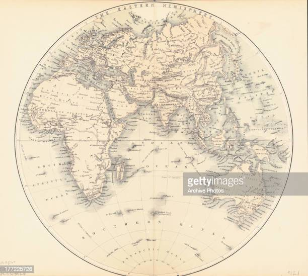 Illustrated map of the Eastern Hemisphere circa 18001900