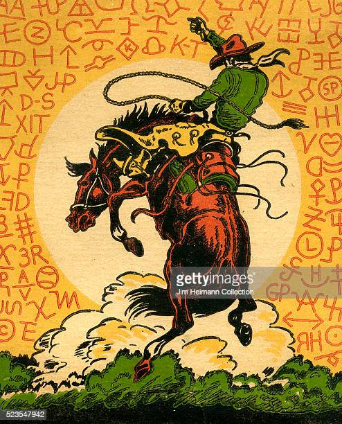 Illustrated matchbook cover of cowboy riding bucking bronco against a background of the sun and various symbols