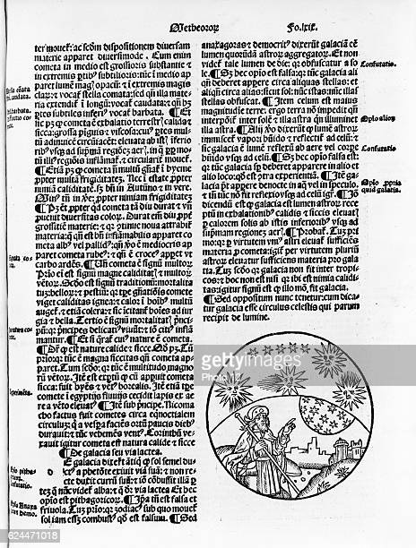 Illustrated page with vignette showing Aristotle pointing to the stars in the sky Woodcut by Thomas Bricot 1496 Illustration in Textus abbreuiatus...