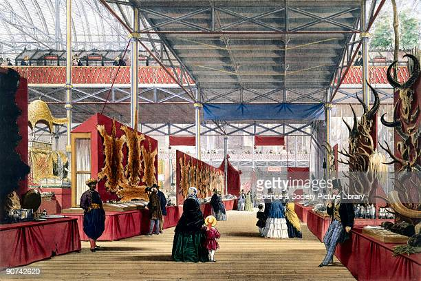 Illustrated plate taken from Dickinsons� �Comprehensive Pictures of The Great Exhibition� Prominent objects on display included raw materials from...