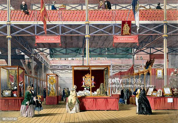 Illustrated plate taken from Dickinsons� �Comprehensive Pictures of The Great Exhibition' Prominent objects on display on this stand included a silk...