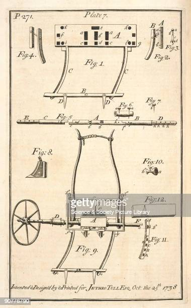Illustrated plate taken from 'The horsehoing husbandry' 2nd edition London by Jethro Tull showing what was at the time the latest seed drill invented...