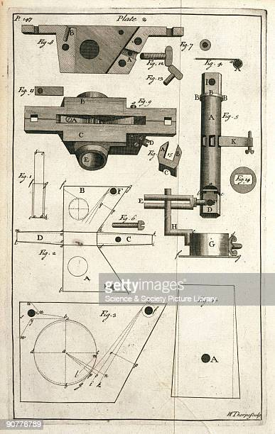 Illustrated plate taken from 'The horsehoing husbandry' by Jethro Tull showing the component parts of the seedbox that is attached to the seed drill...