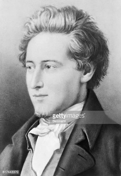 Illustrated portrait after a painting of Heinrich Heine German poet Undated illustration