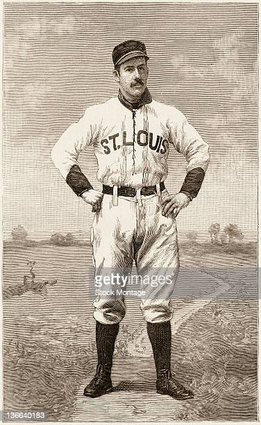 Illustrated portrait of American baseball player Arlie Latham of the St Louis Browns as he stands with his hands on his hips October 1888