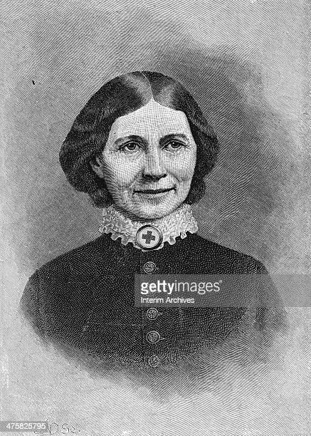 Illustrated portrait of American nurse and founder of the American Red Cross Clara Barton late nineteenth century She is wearing a German Red Cross...
