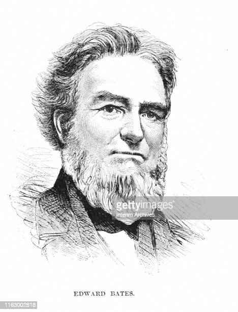 Illustrated portrait of American politician Edward Bates who served as the United States Attorney General under Abraham Lincoln, circa 1860s. It...