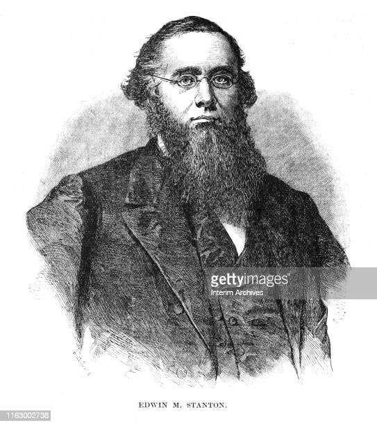Illustrated portrait of American politician Edwin Stanton who served as Secretary of War under President Abraham Lincoln circa 1860s It appeared in...