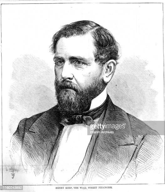 Illustrated portrait of American speculator and railroad financier Henry Keep mid to late 1860s
