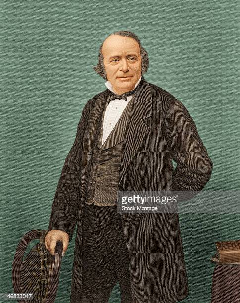 Illustrated portrait of an American naturalist and geologist Louis Agassiz as he stands with one hand behind his back and the other on a chair mid to...