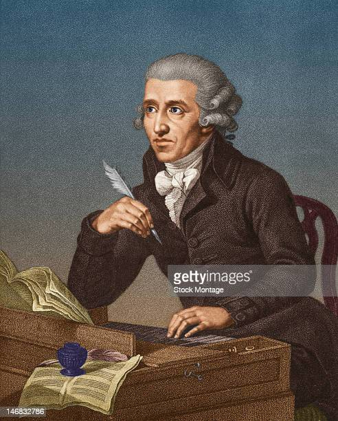 Illustrated portrait of Austrian composer Franz Joseph Haydn seated at a piano with a quill in one hand mid to late 18th century