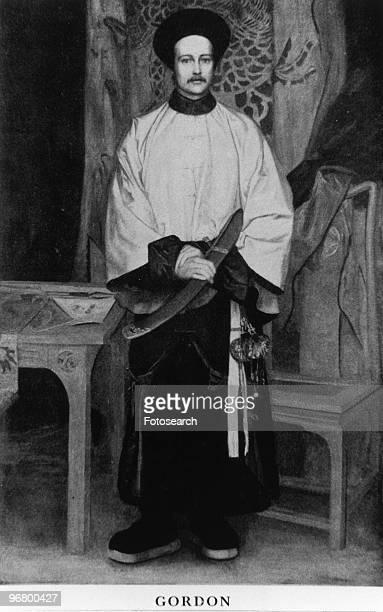Illustrated portrait of C E Gordon circa 1860s