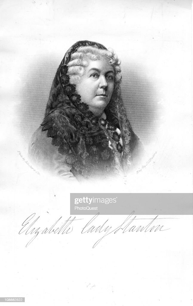 Illustrated portrait of Elizabeth Cady Stanton (1815 - 1902), American woman suffrage leader who organized the Women's Rights Convention at Seneca Falls, 1900s.
