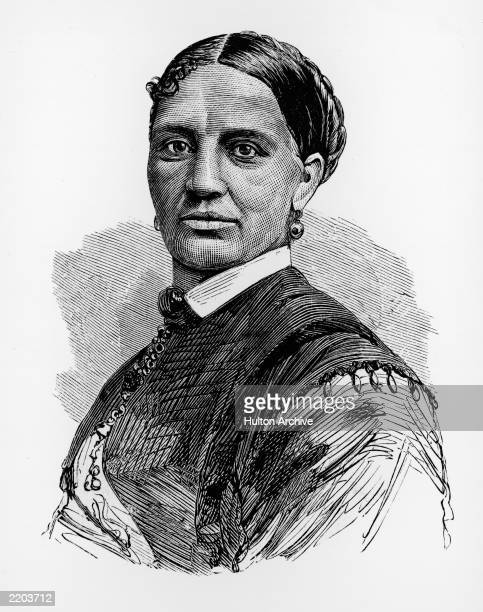 Illustrated portrait of Elizabeth Keckley , a former slave who bought her freedom and became dressmaker for First Lady Mary Todd Lincoln.