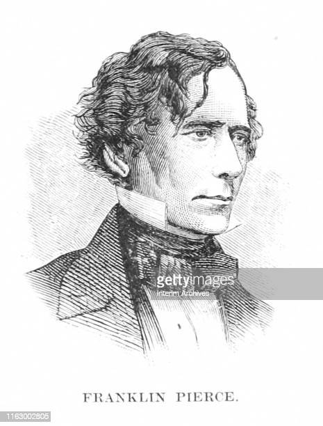Illustrated portrait of Franklin Pierce , the 14th president of the United States, circa 1860. It appeared in Charles Carleton Coffin's book,...