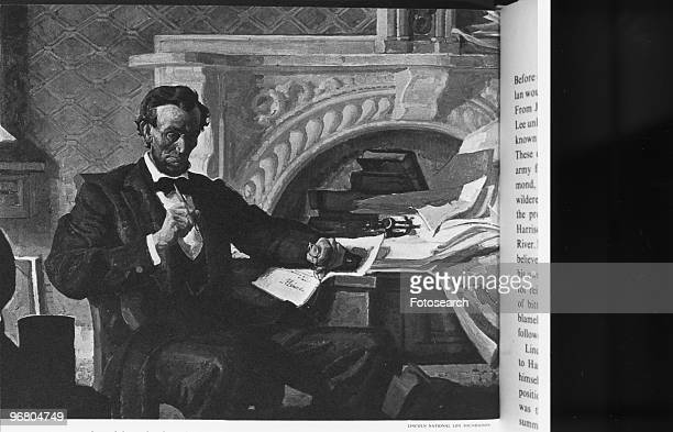 Illustrated portrait of President Abraham Lincoln in his study circa 1860s