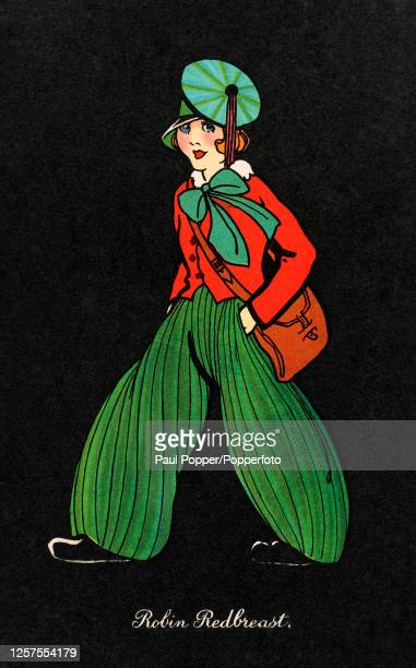Illustrated postcard entitled 'Robin Redbreast' showing a young girl wearing a fitted red jacket, green wide legged trousers with vertical pleats and...