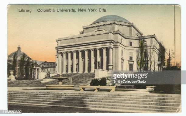 Illustrated postcard of Columbia University Library, New York City, published by Ess an Ess Photo Co, 1913. From the New York Public Library.