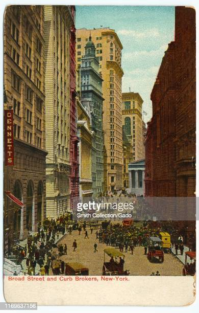 Illustrated postcard of curbside brokers in a crowded Broad Street, New York City, 1909. From the New York Public Library.