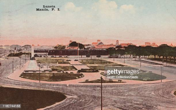 Illustrated postcard of Luneta Park also known as Rizal Park Manila Luzon Island the Philippines published by Camera Supply Co 1921 From the New York...
