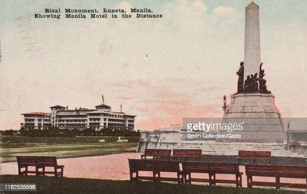 Illustrated postcard of Rizal Monument in Rizal Park also known as Luneta Park with Manila Hotel in the background Manila Luzon Island the...