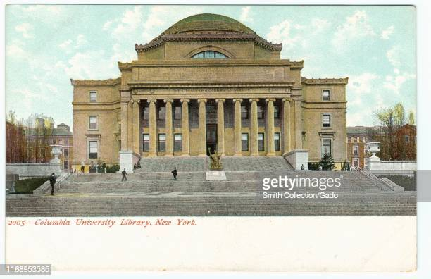 Illustrated postcard of the Columbia University Library, New York City, published by Souvenir Postcard Co, 1905. From the New York Public Library.