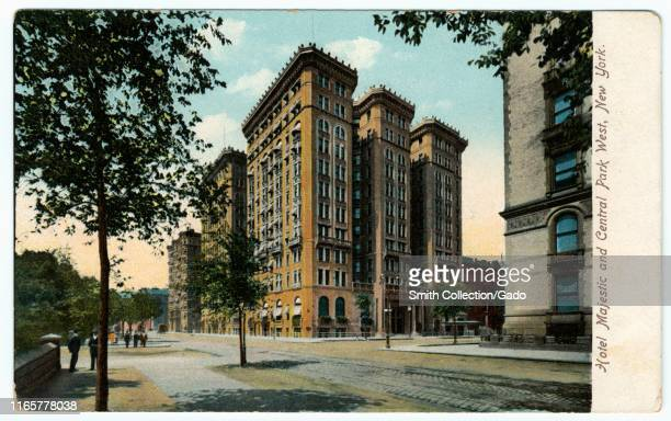Illustrated postcard of the Hotel Majestic and Central Park West at 115 Central Park West in Manhattan New York City published by Illustrated Postal...