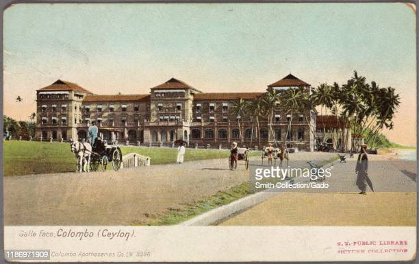 Illustrated postcard of the pedestrian mall in front of the Galle Face Hotel in Colombo Sri Lanka published by Colombo Apothecaries Co Ltd 1762 From...