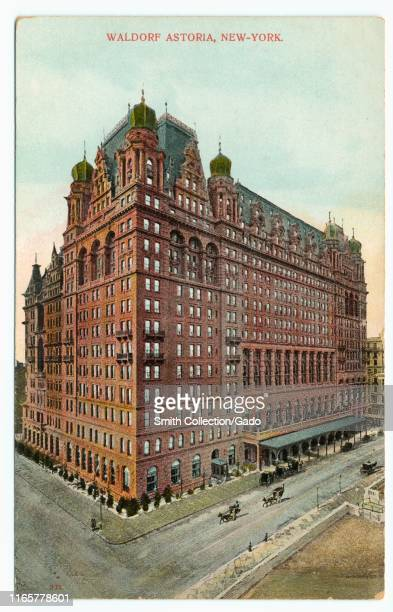 Illustrated postcard of the Waldorf Astoria Hotel at 301 Park Avenue in Midtown Manhattan, New York City, published by A. C. Bosselman and Co, 1910....